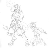 SKETCH: Troll and Halfling by CheshireCaterling