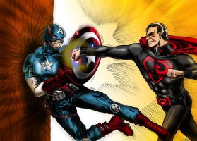 CAPTAIN AMERICA VS SUPERMAN RED SON [Color] by alain-gilot