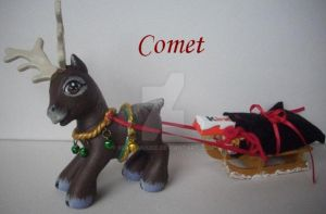 My little Pony Custom G3 Comet the reindeer by BerryMouse
