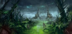 Ruin temple in the swamp by windboi