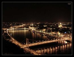 Budapest Bridges by Night by ghost-rations
