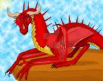 Red Dragon on Cliff by dragonmissy