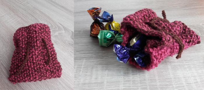 Trick-or-treating - knitting sweets bag by Kropcia