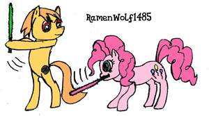 Pinkie Pie and Shadowtrot Sabremane by RamenWolf1485