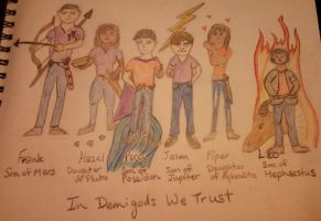 6 of the 7 Great Demigods by MissMartian4ever