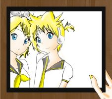 Rin and Len kagamine vocaloid by shiv0611