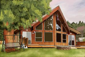 Island Lakehouse Painting by RVGENomini
