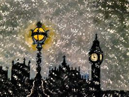 The Lanterns of Snowy London by BravoKrofski