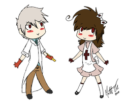 Chibi Nurse Numb and Dr. A by IrritatedPrince