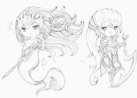 LoL Diana and Nami by LuxIosis