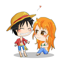 Chibi Nami and Luffy by WataruAvril