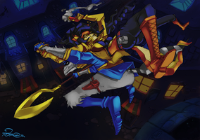 Sly Cooper and Carmelita Fox by TaraGraphic