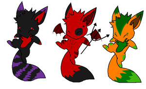 Halloweeny Fox adoptables by careas
