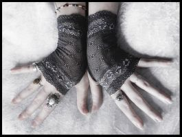 Sylvie Lace Fingerless Gloves by ZenAndCoffee