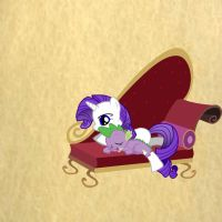 Rarity and spike sleeping by rainbow-ninja-dash