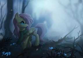 Fluttershy and the misty forest by Miltvain