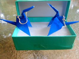 Origami Earrings Crane by Timmytushoes