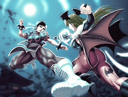 Chun-Li vs. Morrigan by Durandus