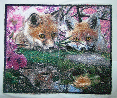 Fox Kits in Spring - Embroidery by goiku