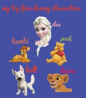 My top five Disney characters :3 by alucardserasfangirl