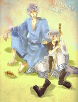Gintama : Ginsan and chibiGin by tam-ichi