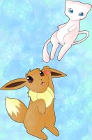 Mew and Eevee by MoonSwann