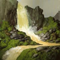 Yellow waterfall sketch by Butjok