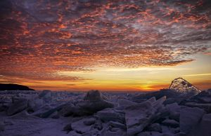 ice shards and the setting sun by ariseandrejoice