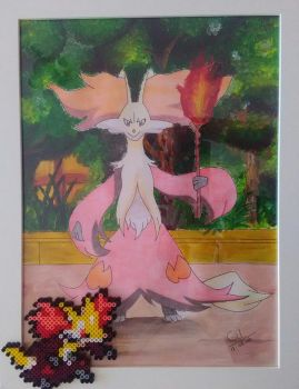 Pokemon - Delphox 2 with perler beads by bGilliand