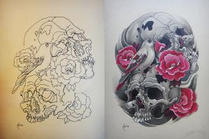 Tattoo design -  Skulls, bird and roses by Xenija88