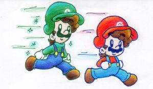 Mario and Dreamy Luigi by BabyAbbieStar