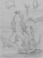 Coelophysis Diving For Coins Darker by NashD1