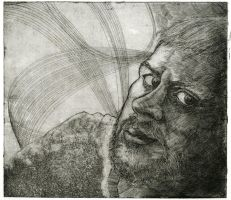 Self Portrait etching by poopbear