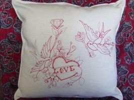 Swallow Cushion by sacredstitches