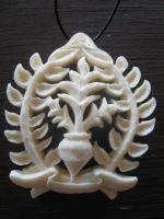 A bone laurel Pendant by Bonecarverpm
