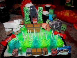 Minecraft cake by Askingtoattackmeghan