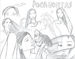 Pocahontas Sketch Page by littlewaysoul
