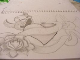 Sketch WIP swallows, heart by austate