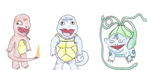 Kanto Starters by WesyWesWesSoFresh