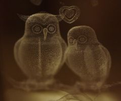 owls in glas by marob0501