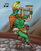 Heads Up 108 - Orc Bard by SeanRM