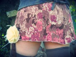Upcycled Hot Pink Floral Corduroy Skirt by DewdropzGarden