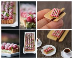 Real and  1:12 scale Raspberry Tart by Almadejonge