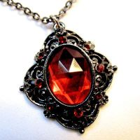Gothic Ruby Medallion Necklace by Om-Society