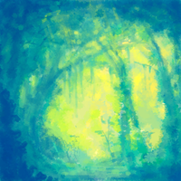 A Sunlit Forest by Aileen-Kailum