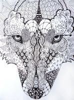 zentangle wolf by lupinemoonfeather