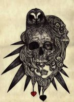The Owl The Skulls AND the girl by BlackSheepRay