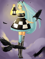 Miku Hatsune: Crows' Twilight by pockypaint