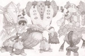 Regigigas, Regice, Regirock, Registeel and Heatran by Wilira