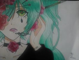 Hatsune Miku and Roses by Simsata